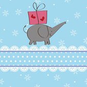 Elephant and gift Christmas card design — Stock Vector