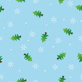 Flocon de neige sans couture et motif arbre fond bleu — Vecteur