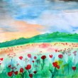 Field of tulips,watercolor illustration — Stock Photo
