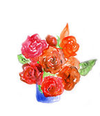 Red rose,watercolor illustration — Stock Photo