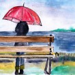 Woman standing with umbrella under the rain,watercolor illustration — Stock Photo
