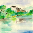 River bank house,watercolor illustration — Stock Photo