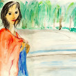 Stock Photo: Beautiful girl,watercolor illustration