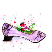 Flower and purple shoe,watercolor illustration — Stock Photo