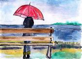 Woman standing with umbrella under the rain,watercolor illustration — Foto Stock