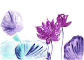 Lotus,watercolor illustration — Stock Photo