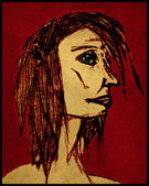 Mulher ruiva preocupado — Fotografia Stock