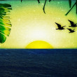 Sunset with Birds and Palm Trees — Stock Photo #27752489
