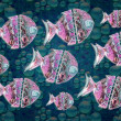 Group of fishes Illustration — 图库照片