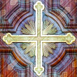 Religious christian cross symbol photo collage artwork — Stock fotografie #36643375