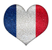 France Grunge Heart Shape Flag — Stok fotoğraf