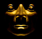 Golden Face Sculpture — Stock Photo