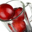 Stock Photo: Blender with red apple isolated on white