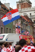 UEFA EURO 2012 Croatia National Team supporters cheering and waving national flag — Stock Photo