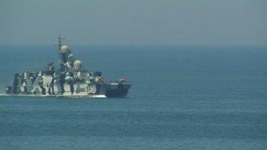"""Missile hovercraft """"Bora"""" Black Sea Fleet. — Stock Video"""
