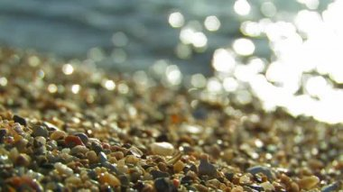 Beach with pebbles. — Vídeo de Stock