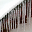 Stock Video: Icicles on a roof