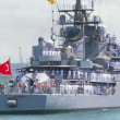 Stock Video: Turkish warship.