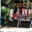 Children riding on a swing. — Stock Video