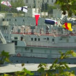 Warship in bay — Stock Video #20804809