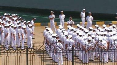 Formation of sailor men — Stock Video