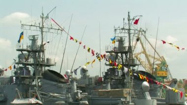 Warship decorated with flags — Stock Video
