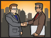 Businessmans Shake Hands — Stock Vector