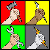 Raised Fists Holding a Tools — Stock Vector