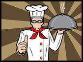 Chef With A Platter Showing Thumbs Up — Stock Vector