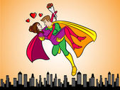 Super Heroes In Love — Stock Vector