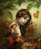 Autumn girl. — Stock Photo