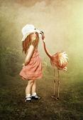 La petite fille et les flamants roses — Photo