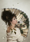 The girl with  Fan — Stock Photo