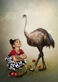Girl and Australian Emu — Stock Photo