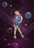 Little girl dancing cosmic dance — Stock Photo