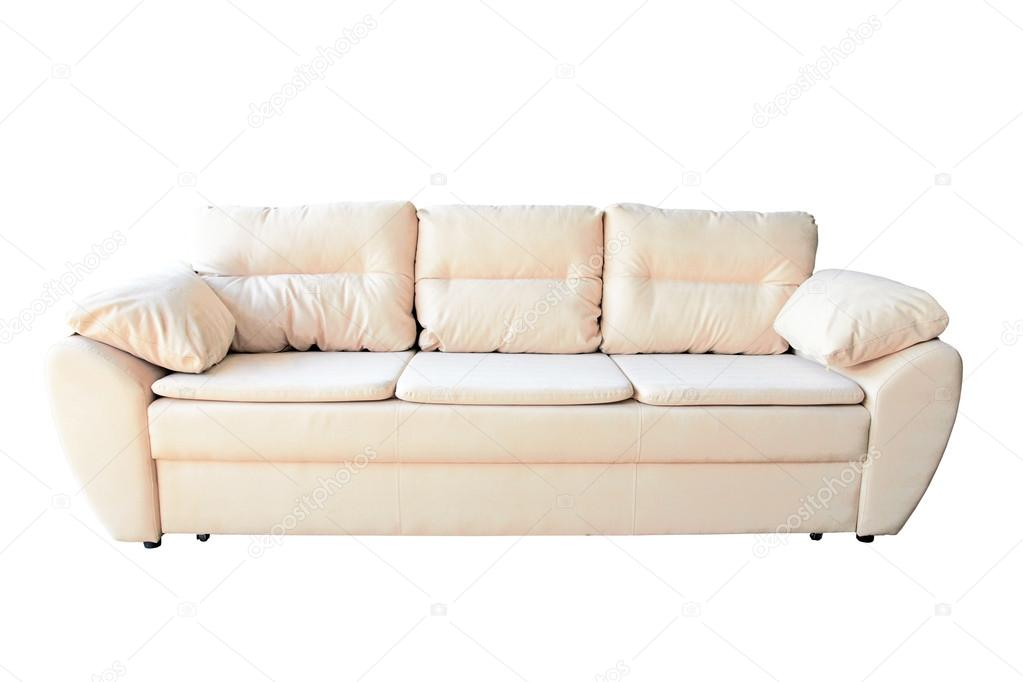 Simply modern beige couch with pillows isolated white  — Stock Photo #13511937