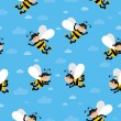 Blue background with bees — Stock Photo