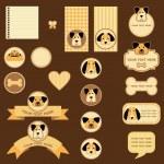 značky a štítky s pejsky — Stock fotografie