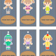 Set of tags with children — Stock Photo