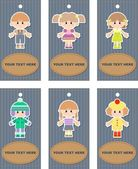 Set of tags with children — 图库照片