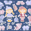 Stock Photo: Set of stickers with knitted clothes for girls