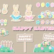 Set of happy easter decorative elements — Stock Photo