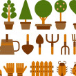 Set of garden icons - Stock Photo