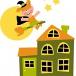Witch home, vector illustration - Stock Photo
