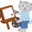 Little kitten artist paints a picture — Stock Photo