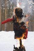 Burning symbol of winter — Stock Photo