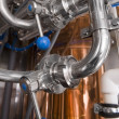 Pipes of system in a microbrewery — Stock Photo