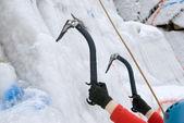 Ice rock-climbing — Stock Photo