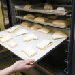 Sweet buns being loaded into a oven - Stock Photo