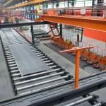 vista della moderna produzione di acciaio — Foto Stock